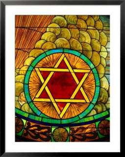 Close up of a Brightly Colored Illuminated Stained Glass Window Pre made Frame