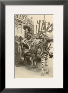Woman in Zebra Cart, Tijuana, Mexico Pre made Frame