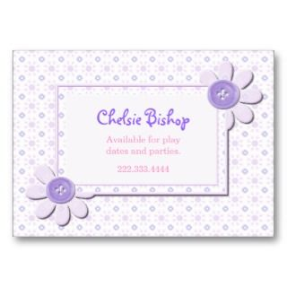 Flowers Girls Play date card Business Card Templates