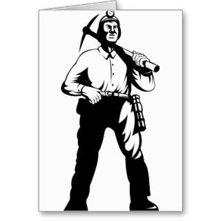 design illustration of a coal miner with pick axe done in retro style