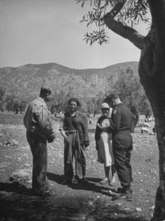 Team of Investigators for the Allied Mission for Observing Greek Elections Interviewing Villagers Premium Photographic Print