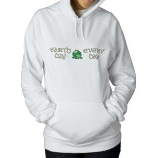 Earth Day Green Frog Recycle Environmental Embroidered Hoodie