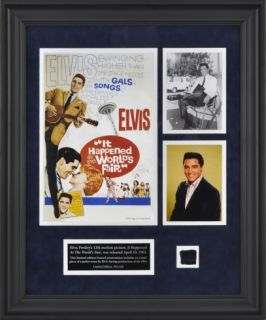 Elvis It Happened At The Worlds Fair framed presentation with a piece of a suit jacket worn by E Framed Memorabilia
