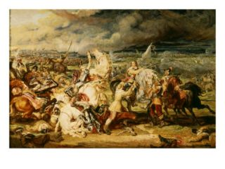 Battle of Marston Moor, Allied Protestant forces Defeat Royalist Troops led by Prince Rupert Giclee Print by James Ward