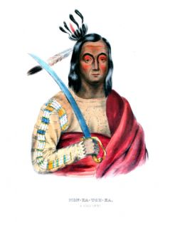 Moukaushka (the Trembling Earth), a Yankton Sioux Chief Giclee Print by George Cooke