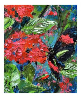 Butterfly on Tropical Flower   Oil Painting Giclee Print by Ginette Callaway