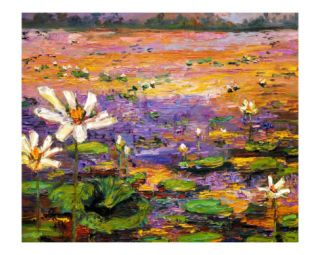 Lily & Lotus Pond   South Georgia Wetland Giclee Print by Ginette Callaway