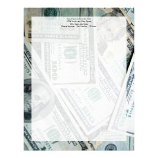 Money US Dollar Bills Piled Up Letterhead Template