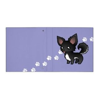 Cartoon Chihuahua (black and white long coat) binders by SugarVsSpice