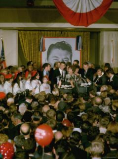 California Governor Candidate Ronald Reagan and Wife at Mike Adorned Podium Premium Photographic Print by Bill Ray