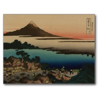 Vintage Japanese Woodcut ~ Mount Fuji & Village Postcard