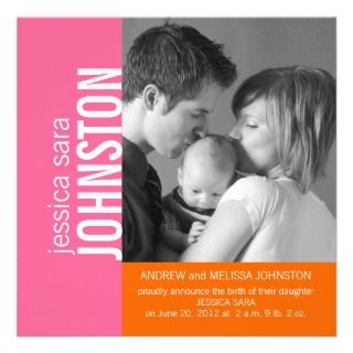Pink Orange Modern Baby Birth Announcement