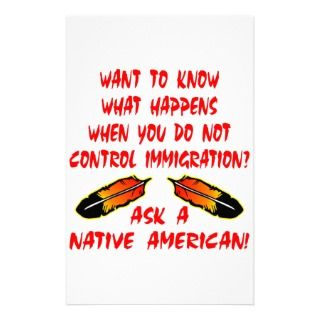 Immigration Control Ask A Native American Indian Stationery Paper