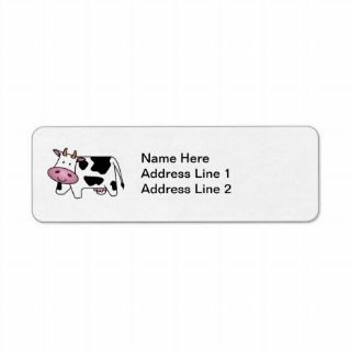 Cute Dairy Cow Custom Return Address Label