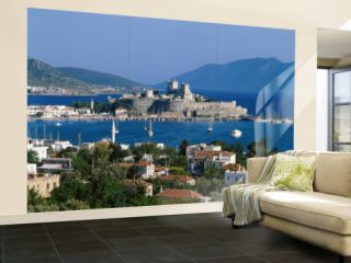 Coastal View and St.Peters Castle, Bodrum, Aegean Coast, Turkey Wall Mural – Large by Steve Vidler