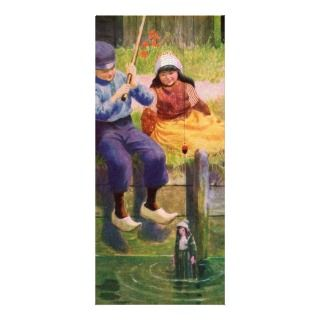 Vintage   Dutch Children Fishing For Dolls Rack Cards