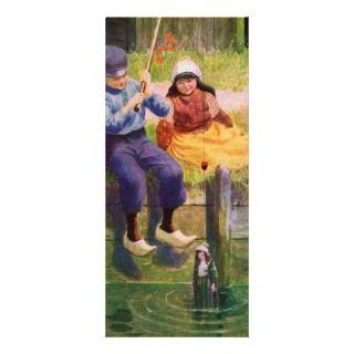 Vintage   Dutch Children Fishing For Dolls Rack Cards