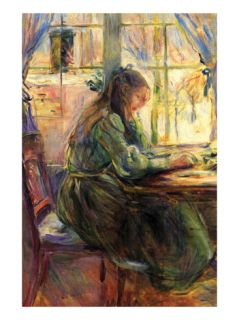 Young Girl Writing Premium Poster by Berthe Morisot