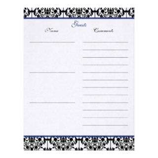 Blue, Whie, Black Damask Linen Gues Book Paper Leerhead
