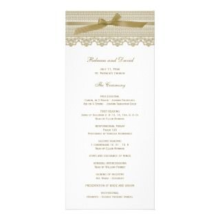 Lace and Ribbon wedding programs Customized Rack Card