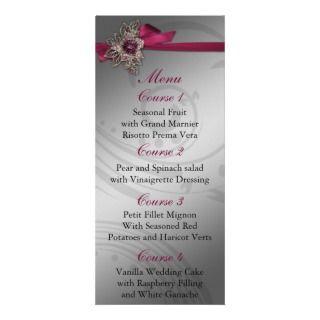 FAUX ribbon Pink and silver wedding menu Customized Rack Card