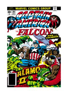 Captain America And The Falcon #203 Cover: Captain America, Falcon, Marvel Comics and Thor Fighting Print by Jack Kirby