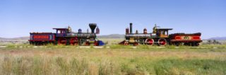 Steam Engine Jupiter and 119 on a Railroad Track, Golden Spike National Historic Site, Utah, USA Photographic Print by Panoramic Images
