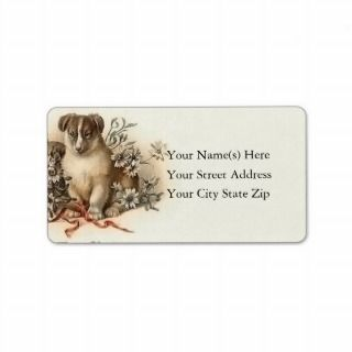 Vintage Puppys Merry Christmas Address Label