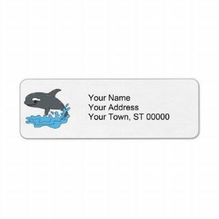 cute cartoon orca killer whale custom return address label