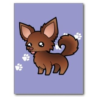 Cartoon Chihuahua (chocolate long coat) postcards by SugarVsSpice