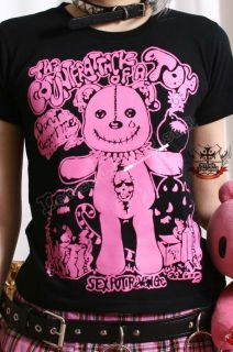 JAPAN KERA Punk NEON PINK TEAR CUB TEDDY BEAR TEE ★ M/L