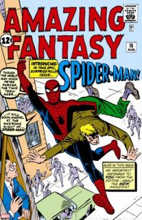Amazing Fantasy #15 Cover: Spider Man Swinging Stretched Canvas Print by Ditko Steve