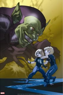 Dark Reign Fantastic Four #4 Cover Green Goblin, Richards, Franklin, Richards and Valeria Stretched Canvas Print by Ferry Pasqual