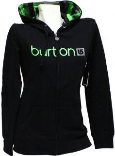 Burton I Logo Damen Zip Hoodie schwarz Kapuzen Sweat Shirt Jacke