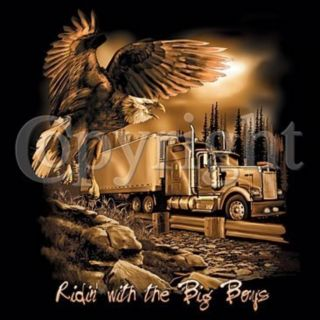 RIDIN WITH THE BIG BOYS T Shirt Eagle Truck Long Distance Driver Cool