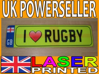 LOVE RUGBY NOVELTY MINI NUMBER PLATE/BOOKMARK   GIFT