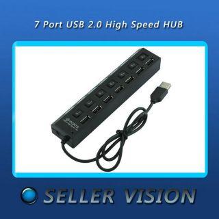 Black 7 Port USB 2.0 High Speed Hub mit ON / OFF Schalter für Laptop