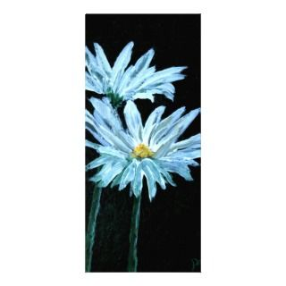oil painting of white daisy flowers modern art custom rack card