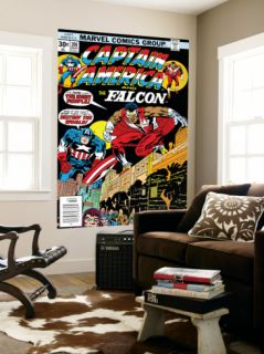 Captain America And The Falcon #201 Cover: Captain America and Falcon Crouching Laminated Oversized Art by Jack Kirby