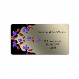 ivory and red floral address labels