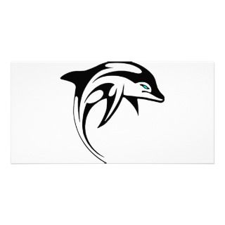 Arte tribal #028 del delfín plantilla para tarjeta de foto de