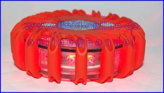 LED Warnblitzer Blitz Leuchte Rescue Flare ROT 16 LED 9 Modi mit