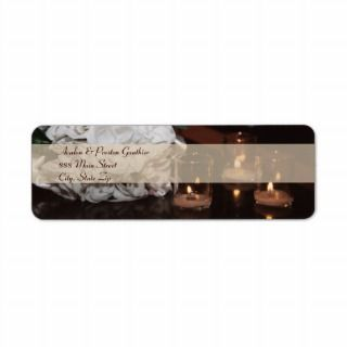 White Roses & Candlelight Wedding Address Label