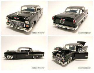 Chevrolet Bel Air 1955 schwarz, Tuning, Modellauto 124 / Jada Toys