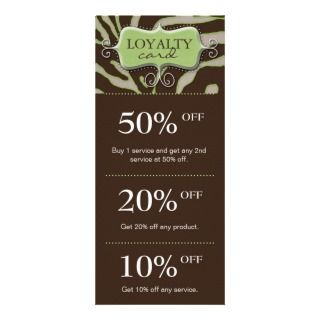 Salon Marketing Cards Lime Green Brown Zebra Custom Rack Cards