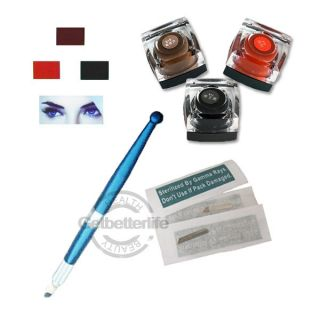 Pro Manual Tattoo Permanent Makeup Eyebrow Pen + Ink/Pigment + Blades