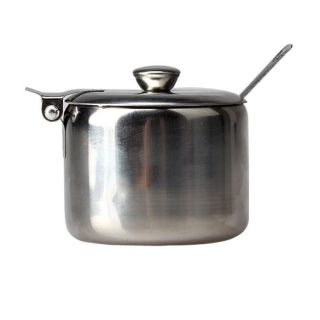 Sugar Pot Stainless Steel With Spoon Salt Bowl Tea Coffee Jam Storage