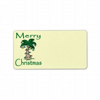 Christmas Palm Tree Address Label