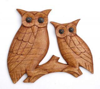 Schöne Eulen Vogel Tier Relief Holz Owl Eule Rel18