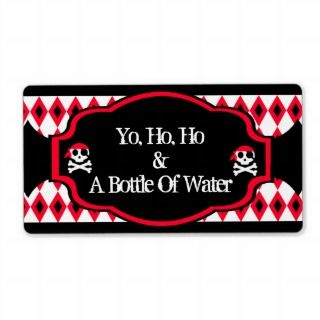 Water Bottle Label   Red Pirate Skull